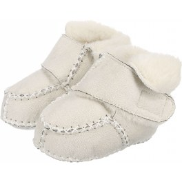 Playshoes Baby Krabbelschuhe in Lammfell-Optik (Wolle) in weiss