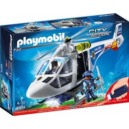 Playmobil City Action 6874 - Polizei-Helikopter mit coolem LED-Suchscheinwerfer
