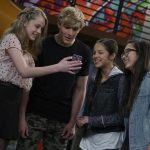 "BIZAARDVARK - ""The Collab"" - Frankie and Paige try to boost their subscriber level by collaborating with popular Vuuugle stars Victor of ""Prank Town"" and JiffPom. This episode of ""Bizaardvark"" airs Sunday, July 31 (8:30 - 9:00 P.M. EDT) on Disney Channel. (Disney Channel/Eric McCandless) DEVORE LEDRIDGE, JAKE PAUL, OLIVIA RODRIGO, MADISON HU"
