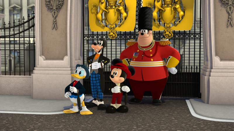 """Micky und die flinken Flitzer - """"Tea Time Trouble!"""" - When the Happy Helpers are invited to tea with the Queen of England, their meeting is put in danger when the duo must help fix Big Ben. This episode of """"Mickey and the Roadster Racers"""" airs Saturday, February 04 (10:00 A.M. - 10:30 A.M. EST) on Disney Junior. (Disney Junior) DONALD DUCK, GOOFY, MICKEY MOUSE, PETE"""