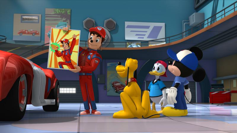 """Micky und die flinken Flitzer - """"Abra-ka-Goof!"""" - Goofy thinks he's used his magician skills to turn Gordon Gear into a rabbit. This episode of """"Mickey and the Roadster Racers"""" airs Saturday, February 11 (10:00 A.M. - 10:30 A.M. EST) on Disney Junior. (Disney Junior) GORDON GEAR, PLUTO, DONALD DUCK, MICKEY MOUSE"""