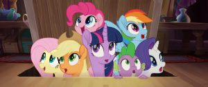 From L to R: FLUTTERSHY (Andrea Libman), APPLEJACK (Ashleigh Ball), TWILIGHT SPARKLE (Tara Strong), PINKIE PIE (Andrea Libman), SPIKE (Cathy Weseluck), RAINBOW DASH (Ashleigh Ball) and RARITY (Tabitha St. Germain) in MY LITTLE PONY: THE MOVIE