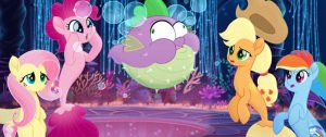From L to R: FLUTTERSHY (Andrea Libman), PINKIE PIE (Andrea Libman), SPIKE (Cathy Weseluck), APPLEJACK (Ashleigh Ball) and RAINBOW DASH (Ashleigh Ball) in MY LITTLE PONY: THE MOVIE