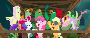 From L to R: FLUTTERSHY (Ashleigh Ball), RARITY (Tabitha St. Germain), PINKIE PIE (Andrea Libman), APPLEJACK (Ashleigh Ball) and SPIKE (Cathy Weseluck) in MY LITTLE PONY: THE MOVIE