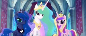 From L to R: PRINCESS LUNA (Tabitha St. Germain), PRINCESS CELESTIA (Nicole Oliver) and PRINCESS CADENCE (Britt McKillip) in MY LITTLE PONY: THE MOVIE