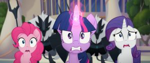 From L to R: PINKIE PIE (Andrea Libman), TWILIGHT SPARKLE (Tara Strong) and RARITY (Tabitha St. Germain) in MY LITTLE PONY: THE MOVIE
