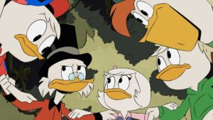 "DUCKTALES - ""Treasure of the Found Lamp!"" - As the boys track a missing artifact across Duckburg, Scrooge and Webby stall the warrior looking for it with a phony quest. This episode of ""DuckTales"" airs Tuesday, May 7 (3:00–3:30 P.M. EDT) on Disney Channel. (Disney Channel) WEBBY, DEWEY, SCROOGE, LOUIE, HUEY"